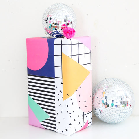 80's Memphis Shapes Color Block Wrapping Paper