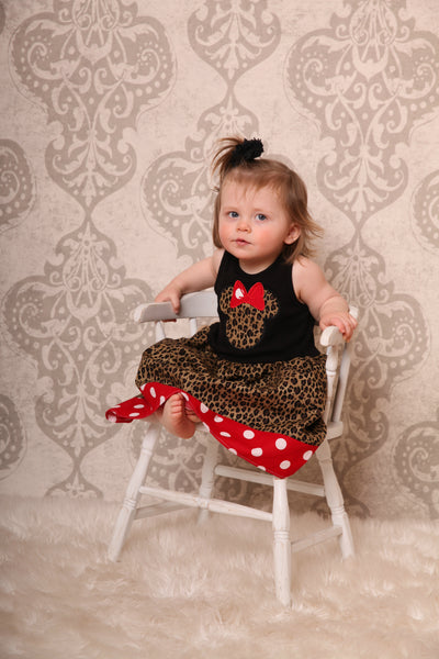 Custom Boutique Girls Dress, Safari Cheetah Girls Dress, Black Tanktop Dress, Vacation Dress, Size 12M thru 5T