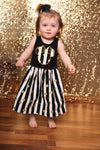 Custom Boutique Girls Dress, Black Striped Gold Dot Dress, Black Tanktop Dress, Vacation Dress, Size 12M thru 5T