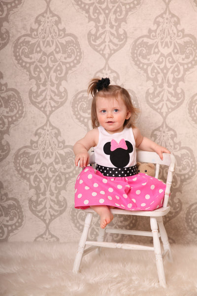 Custom Boutique Girls Dress, Pink Dot Dress, Vacation Dress, Size 12M thru 5T