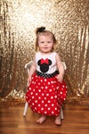 Custom Boutique Girls Dress, Red Dot Dress, Vacation Dress, Size 12M thru 14/16
