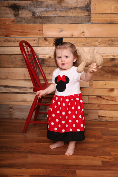 Custom Boutique Girls Dress, Red Dot Tshirt Dress, Vacation Dress, Size 12M thru 14/16