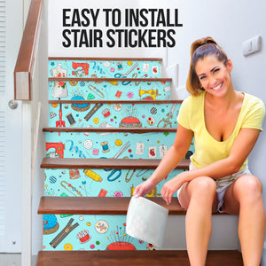 Sewing Inspired House Stair Sticker - NS05