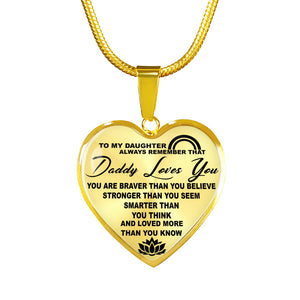 To My Daughter - Daddy Loves You Luxury Gold Necklace