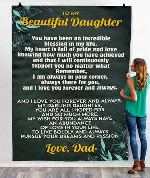 To My Beautiful Daughter Love Dad  BLANKET - FLB201