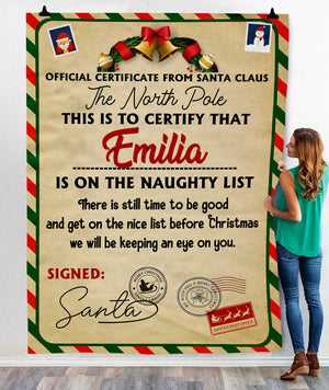 Naughty List Custom  BLANKET - FLB202