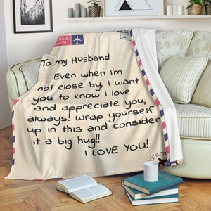 To My Husband Message Blanket
