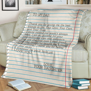 To my Dad - Love Your Daughter 2 Message Blanket - FLB157