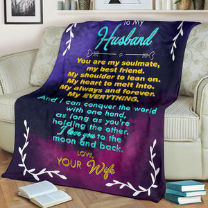 To my Husband - Love Your Wife Message Blanket - FLB168
