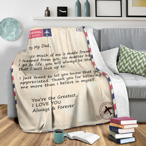 To My Dad Message Premium Blanket