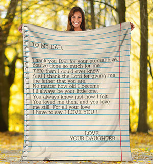 To my Dad - Love Your Daughter Message Blanket - FLB156