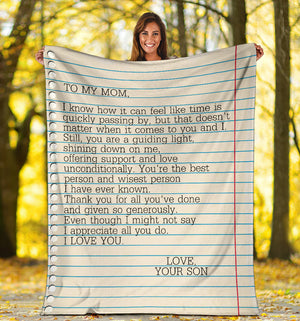 To my Mom - Love Your Son 2 Message Blanket - FLB165