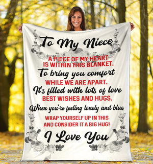 To my Niece - I love you Message Blanket - FLB114
