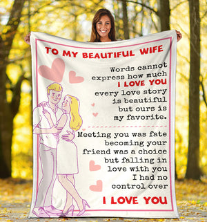 To my Beautiful Wife - I love you Message Blanket - FLB126
