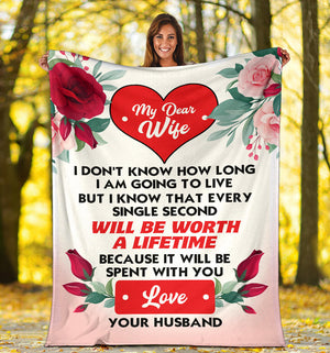My Dear Wife - Love Your Husband Message Blanket - FLB124