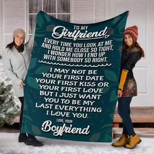 To my Girlfriend - Love Your Boyfriend Message Blanket - FLB184