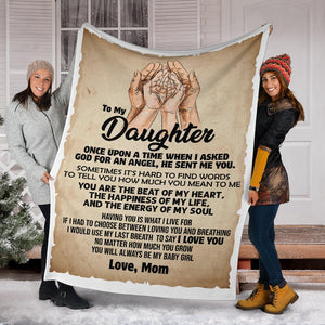 To My Daughter Love Mom - MESSAGE BLANKET -FLB194