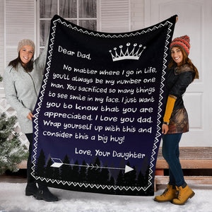 Dear Dad - Love Daughter Message Blanket - FLB053