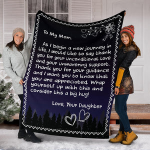 To my Mom - Love Daughter 3 Message Blanket - FLB051