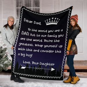 Dear Dad - Love Daughter 2 Message Blanket - FLB054