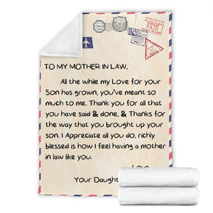To My Mother in Law Message Blanket