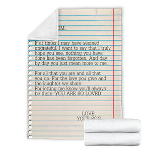 To my Mom - Love Your Son Message Blanket - FLB164