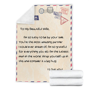 To my Beautiful Wife Message Blanket - FLB074