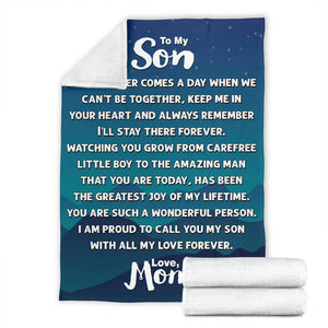 To my Son - Love Mom 2 Message Blanket - FLB177