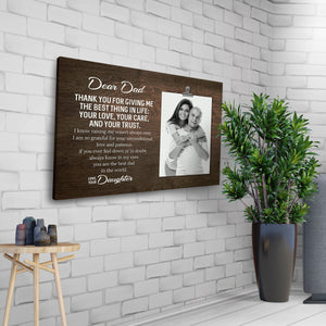 Dear Dad - Love Your Daughter Custom Photo Canvass