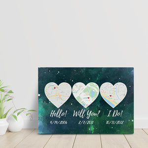 Hello – Will You – I Do Custom Map Canvass