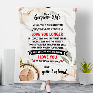 To my Gorgeous Wife - Love Your Husband Message Blanket - FLB134