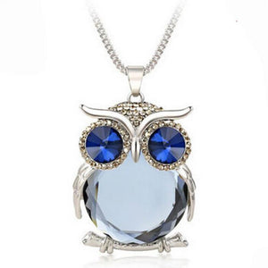 Node Lux Owl Rhinestones Crystal Necklace