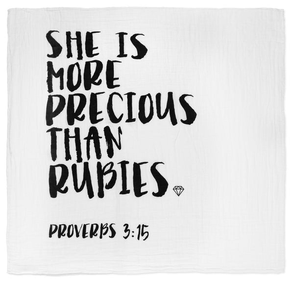 PROVERBS 3:15 - ORGANIC COTTON SWADDLE BLANKET