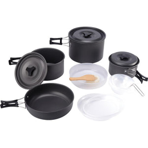 Portable Camping Hiking Cookware 15pcs Outdoor Camping Cookware Cooking Picnic Bowl Pot Pan Set Tableware
