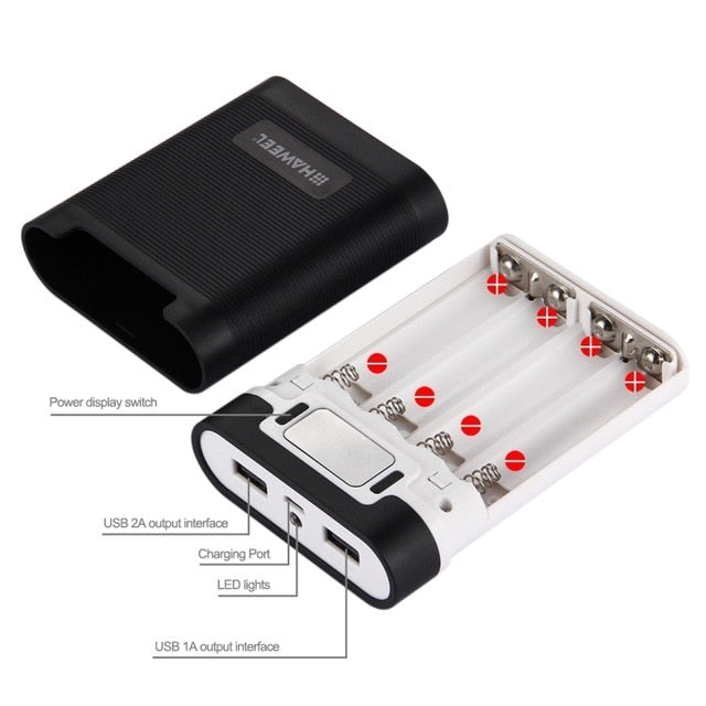 10000mAh Portable Battery Power Bank Shell Case 4x18650 DIY 5V 2A Dual USB LCD Display Rechargeable Power Box Flash, NO Battery