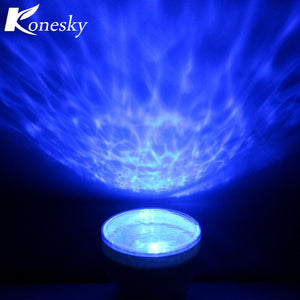 Konesky Night Light Projector Ocean Blue Sea Waves Projection Lamp With Mini Speaker Ocean Waves Sleep Gift For Baby Children
