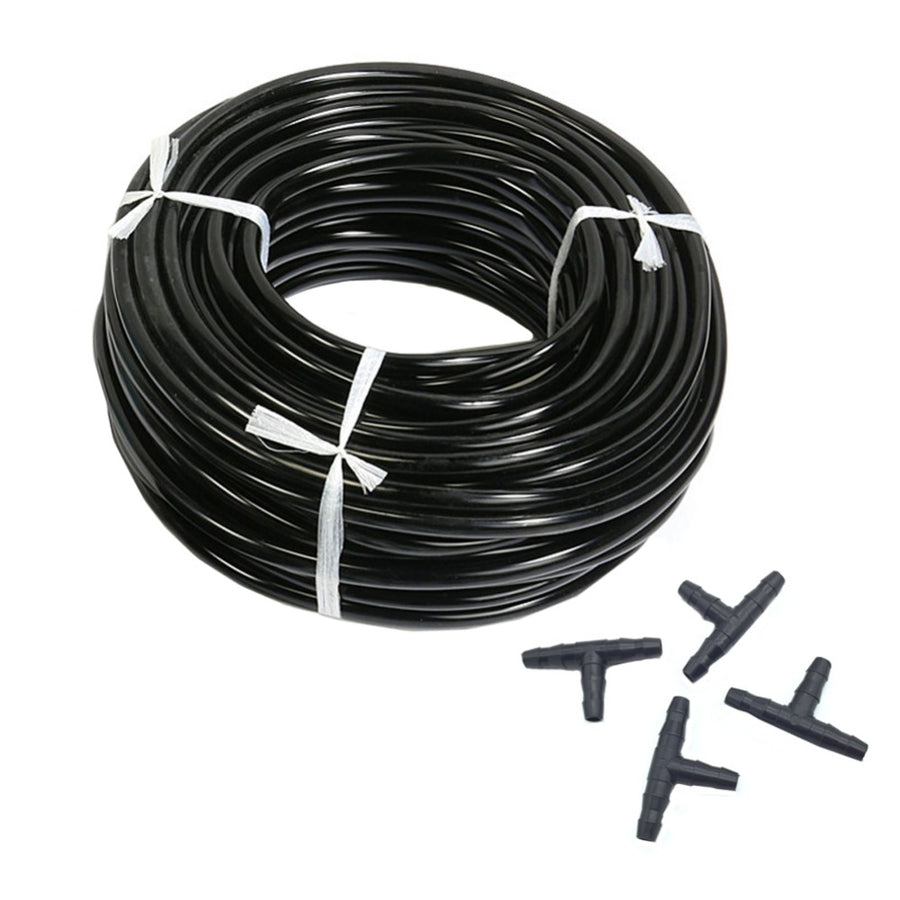 20m 4/7mm Hose Garden Water Micro Irrigation Pipe With 10 Pcs Tee Connectors Gardening Lawn Agriculture Sprinking Drip Tube