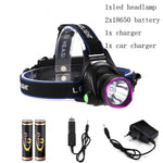 6000 Lumens XM-L XML T6 LED Headlamp Headlight Flashlight Head Lamp Light + 2*18650 battery + charger + Car Charger
