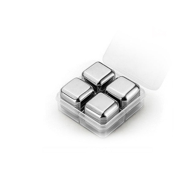 304 Stainless Steel Ice Cubes bucket Bar KTV Magic Vodka Stone Whiskey Wine 4 6 8pcs Beer Coolers Holder chiller Tool