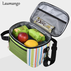 Laumango Thermo Large Meal Package Lunch Bag Crossbody Women Child Cold Storage Take-away Shoulder Bags Ice Pack Cooler Bag
