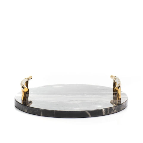 Faux Leather Round Tray With Handle