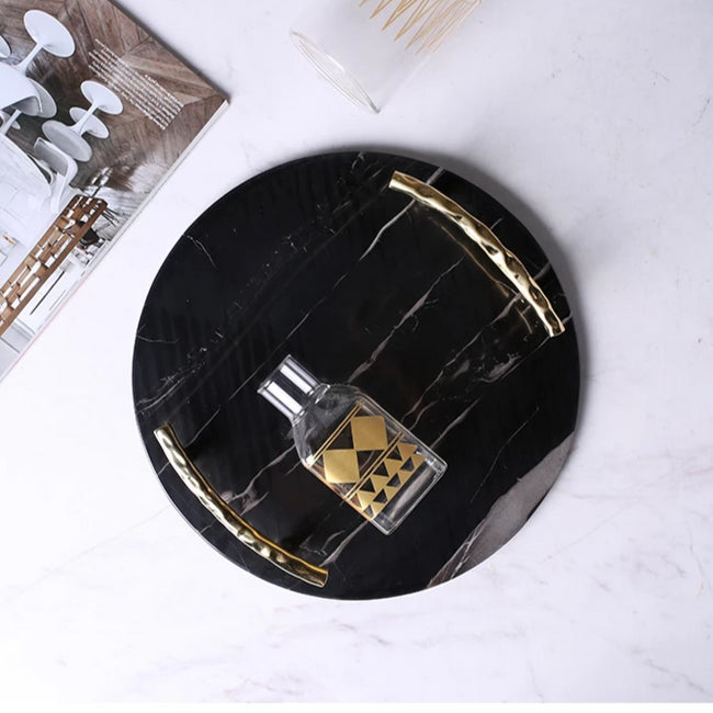 Black Marble Tray with Handles