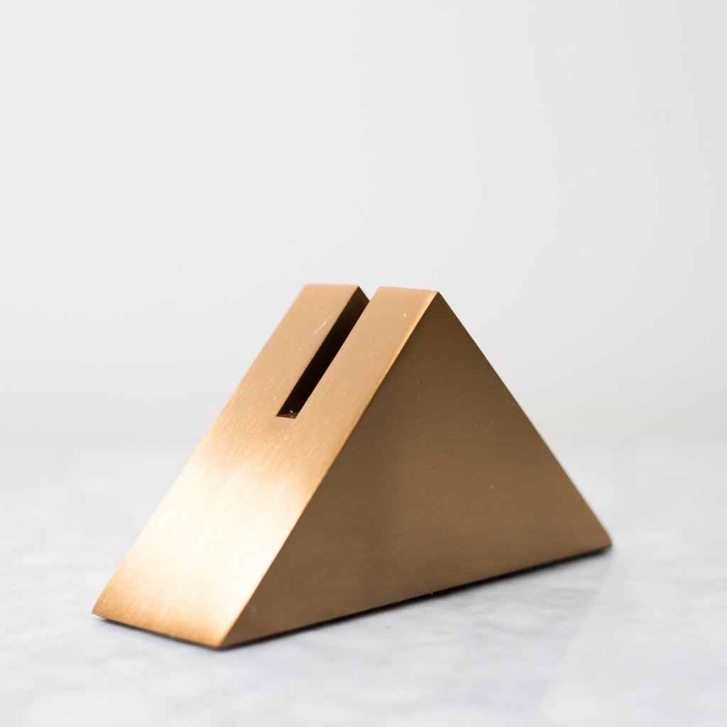 Simple and modern Gold Card Holder in triangle shape