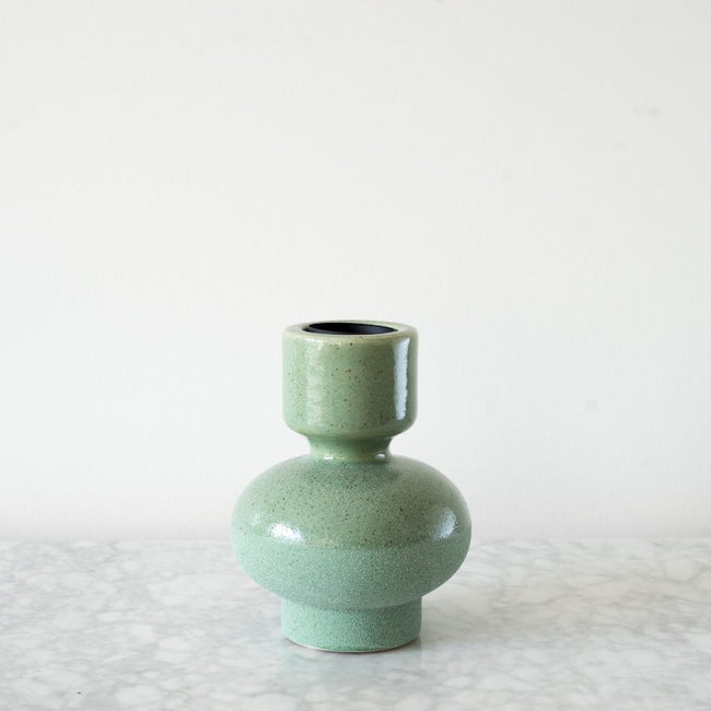 Medium Sea Green  colour totem ceramic candleholder