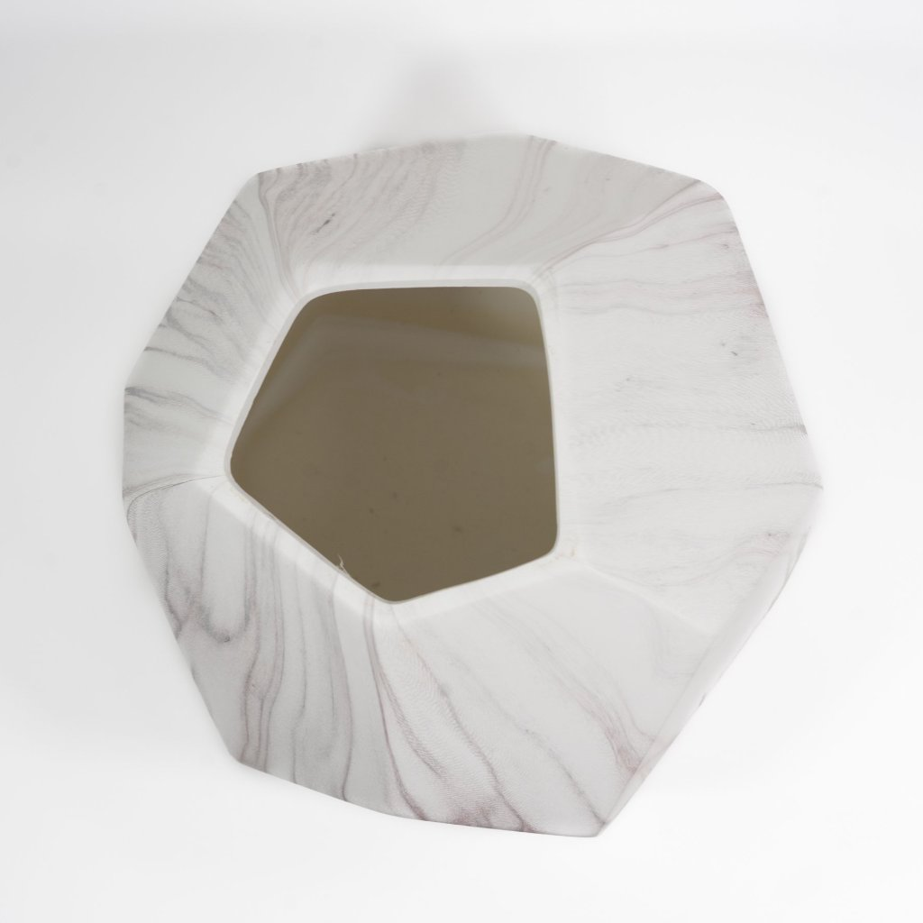 Faceted Marble Pattern Ceramic Vase