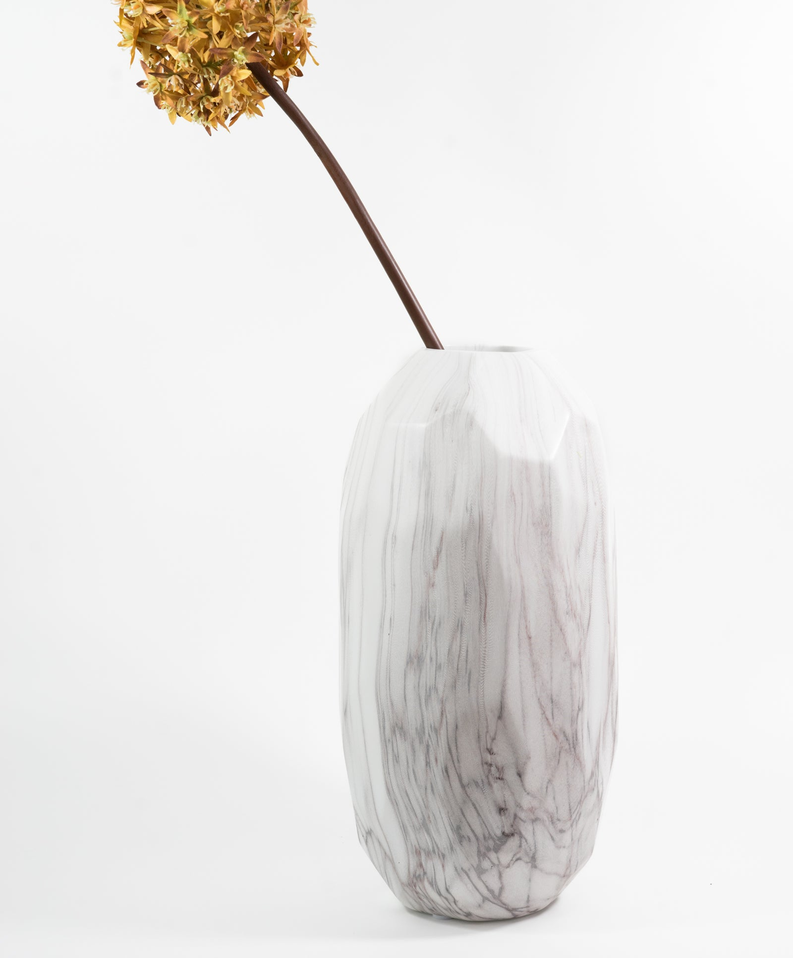 Faceted Marble Pattern Ceramic Vase with botanicals