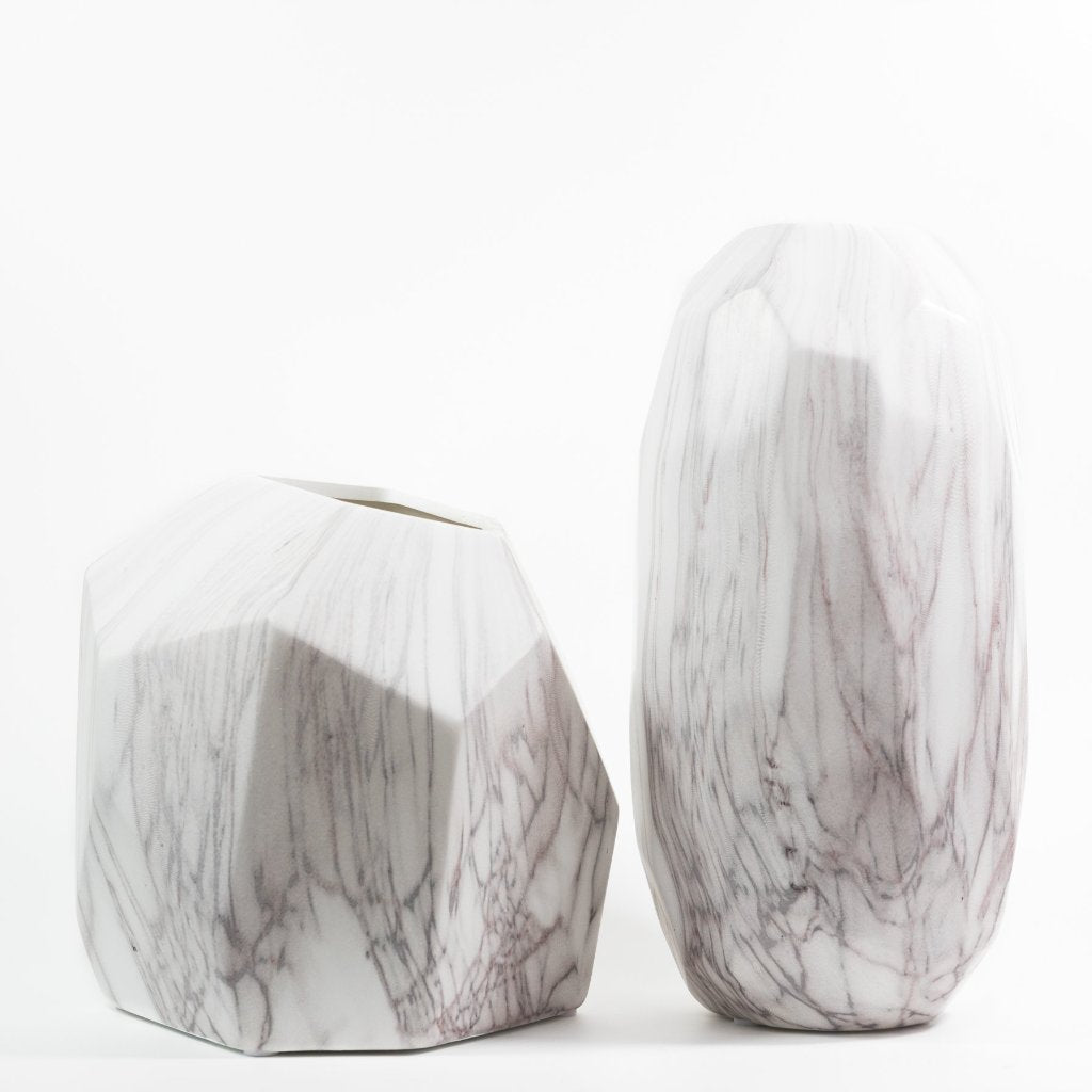 Faceted Marble Pattern Ceramic Vase with medium and large size