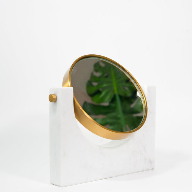 Iconic Marble Mirror, metal parts in brass finish