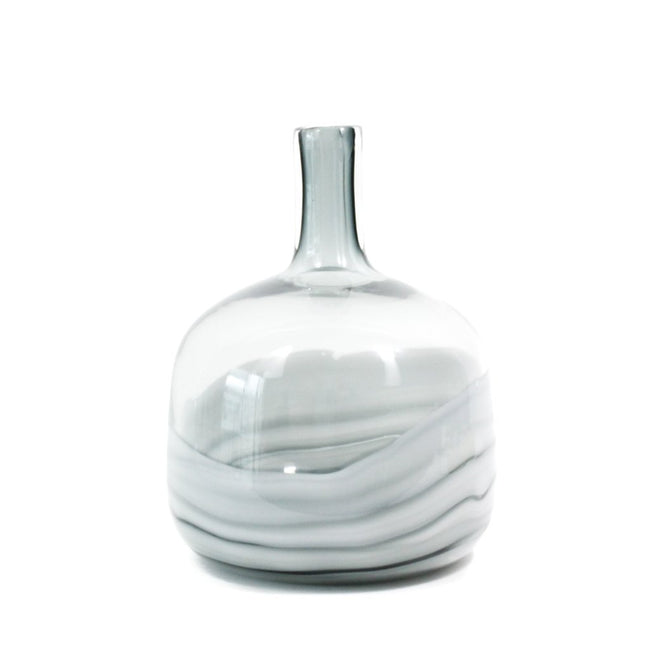 Marble Pattern Glass Vase, handcrafted, blown glass