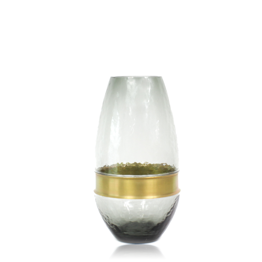 Tapered Glass Vase With Gold Ring